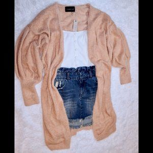 Long-line Fuzzy Sweater Cardigan